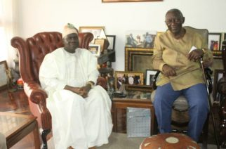 Former Ghanaian President John Agyekum Kufuar (right) and Nigerian High Commissioner to Ghana, Ambassador Olufemi Michael Abikoye during the courtesy call