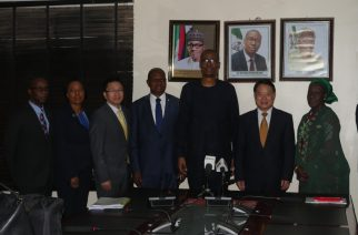 R-L Minister of State for Industry, Trade and Investment, Aisha Abubakar, UNIDO Director-General, Li Yong, Minister of Industry, Trade and Investmen, Dr.Okechukwu Enyinna Enelamah,UNIDO Regional Director, Jean Bankole, Director PTC/PPF UNIDO, Vienna,Zou CiyoN,, Programme Officer with  UNIDO Vienna,Matilda Muweme, UNIDO National Programme Officer,Reuben Bamidele