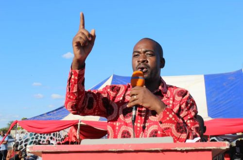 "Nelson Chamisa addressing supporters during MDC ""thank you"" rally in Chiredzi countryside"