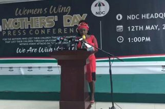 Hon. Dr. Hanna Louisa Bisiw delivering  her Press Statement
