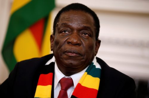 Zimbabwe's President Emmerson Mnangagwa looks on as he gives a media conference at the State House in Harare, Zimbabwe, August 3, 2018. REUTERS/Philimon Bulawayo