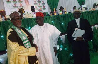 Ambassador Abikoye congratulating the Chairman of ANC, Hon. Salihu
