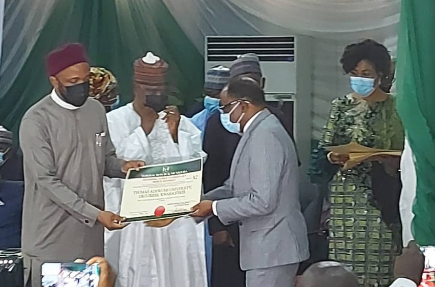 NUC presents provisional licence to Thomas Adewumi University, Oko