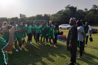Nigerian High Commissioner to Ghana, Ambassador Olufemi Micheal Abikoye addressing the Super Falcons of Nigeria and their officials at their camp.... today