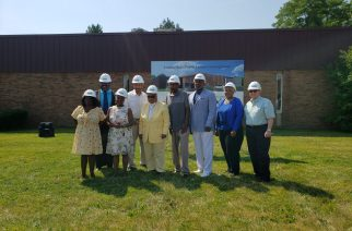 At the ground-breaking ceremony